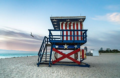 Red, White & Blue (Wits End Photography) Tags: lifeguard firstlight daylight sand sunrise dawn seashore morn water color cloudy am multicolored nautical early clouds sea morning colors coastline sunup light daybreak coastal colorful sky shore miami beach architecture seaside marine maritime ocean instagram