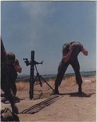 Firing the morta, Cuba 1988 (1811/1812 USMC) Tags: usmc marine marines m29a1 81mm cuba camouflage carribean sky sea bay navalbase navy gitmo guantanamo exhaust trail gun tube