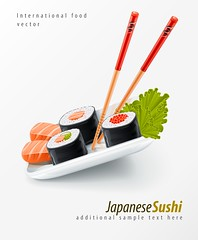 Sushi japanese food with fish and chopsticks (siancom) Tags: sushi fish food japanese restaurant caviar chopsticks bar delicatessen rice land menu japan vector stick plate leaf background delicacy design dainty foodstuff cereals grain eating meal tasty nutrition nourishment eat illustration east gourmet products ration green red white edible eatable delicious drawn