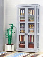 Liatorp (aukbricks) Tags: lego moc legomoc livingroom glassdoor glass cabinet bookcase bookshelf furniture legofurniture interiordesign legointerior ikea liatorp books houseplant bamboo carpet