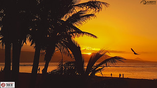 Beach sunset at Las Canteras