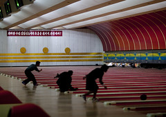 North Korean people playing bowling, Pyongan Province, Pyongyang, North Korea (Eric Lafforgue) Tags: adults adultsonly asia bowl bowling bowlingalley citylife dictator dictatorship dprk entertainment fulllength fun game healthylifestyle horizontal humanbeing inaction indoors leisure leisureactivity leisuregames lifestyles men nkorea0978 northkorea northkorean people pyongyang runningtrack sport sportvenue threepeople women woodenfloor pyonganprovince 北朝鮮 북한 朝鮮民主主義人民共和国 조선 coreadelnorte coréedunord coréiadonorte coreiadonorte 조선민주주의인민공화국 เกาหลีเหนือ קוריאההצפונית koreapółnocna koreautara kuzeykore nordkorea північнакорея севернакореја севернакорея severníkorea βόρειακορέα