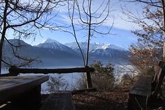 un petit coin sympa (bulbocode909) Tags: valais suisse montagnes nature hiver paysages arbres tables bancs barrières bleu nuages brouillard catogne massifdumontblanc