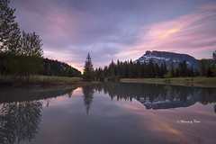 Cascade Mirror (Canon Queen Rocks (1,966,000 + views)) Tags: water ponds cascadeponds banffnationalpark mountain rundlemountain trees tree reflections sky scenery scenic landscape momentsbycelinecom colours clouds sunrise nature nationalpark rockies pink lake serene