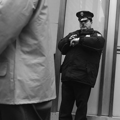 Candid Security (Zach K) Tags: candid street photograph streetphotography fujifilm fuji xt1 acros security officer west midtown 36th eighth avenue penn station area