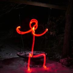 It Came from the Woods (Jan Zielinski) Tags: lightpaintingflash winter woods norway stickman longexposure nightphotography lumixlx100 lightpainting lighttrails