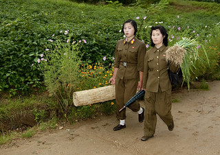 North Korean women soldiers walking in the countryside, North Hwanghae Province, Kaesong, North Korea