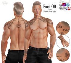 Lush FUCK OFF Tattoo (♥ Kayshla Aristocrat) Tags: lush tattoo maletattoo themenjail necktattoo catwa signature slink belleza omega appliers bodyart ink tattoos kayshlaaristocrat designer