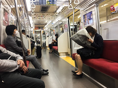 People sitting in JR subway train (phuong.sg@gmail.com) Tags: asia asian business busy car city commute crowd crowded holding hour interior japan japanese line mask mass metro mobile osaka paris people person phone platform priority public railway rush seat smartphone speed station subway tokyo traffic train transport transportation travel underground urban worker