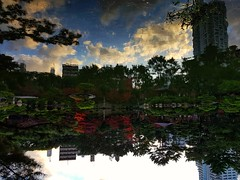 2018-02-08_12-24-25 (jumppoint5) Tags: shukkeien hiroshima japan clouds autumn leaves reflection creative urban city building