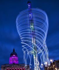 Octopus (Tracey Whitefoot) Tags: 2018 tracey whitefoot light night february long exposure nottingham city cityscape nottinghamshire star flyer fairground ride council house blue hour movement fair ground dusk sunset