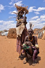 Dassanech Tribe (Rod Waddington) Tags: africa african afrique afrika äthiopien ethiopia ethiopian ethnic etiopia ethnicity ethiopie etiopian omovalley omo outdoor omoriver omorate dassanech traditional tribe tribal culture cultural people huts old