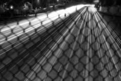 134 Freeway - San Rafael overpass 2 (Immane) Tags: pentaxspotmaticii sears 55mmf28macro 135 35mm film analog aristaeduultra100 fomapan rodinal 125 blackandwhite monochrome bw roll145 losangeles pasadena venturafreeway 134freeway overpass bulb night longexposure fence