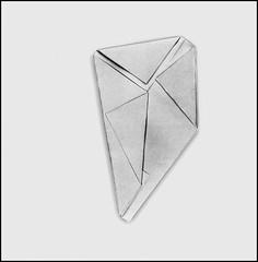 Folded paper (Bob R.L. Evans) Tags: foldedpaper whitespace graytones unusual irreverent lines patterns composition triangles asymmetrical