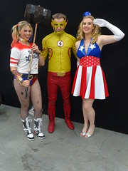 Wally gets on with DC and Marvel girls (Sconderson Cosplay) Tags: oz comic con 2016 wally west cosplay kid flash harley quinn captain america