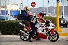 Security first !!! (Chris Maroulakis) Tags: driver woman boy security yamaha lavrion attica port nikon d7000 chris maroulakis 2016 greece