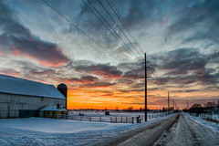 Snowy Sunset #6 (tquist24) Tags: hdr indiana nikon nikond5300 outdoor barn clouds cold evening farm fence geotagged road rural sky snow sunset tree trees winter middlebury unitedstates