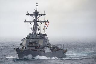 USS Arleigh Burke accompanies USNS Arctic during a replenishment-at-sea.