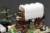 Oregon Trail River Crossing - Tight (brickwebster) Tags: lego afol moc historical river covered wagon prairie schooner oregon trail diorama horse harness snake