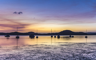 Dawn Waterscape over the Bay with Boats