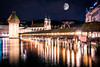 Moonlight Lucerne (mscgerber) Tags: switzerland switzerlandtour schweiz europe europa lucerne luzern bridge bridges architecture building wood history historical water river city cityphotography oldtown night dark nightphotography nightsky stars moon blue sky mood moody nikon nikonphotography nikond3400