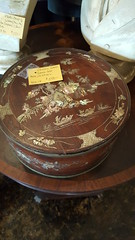 "CHINESE MOTHER OF PEARL INLAID SEWING BOX WITH INSERT.  RARE ROUND FORM, 19TH CENTURY.  $250. • <a style=""font-size:0.8em;"" href=""http://www.flickr.com/photos/51721355@N02/39626532391/"" target=""_blank"">View on Flickr</a>"