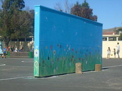 DSC01402 (classroomcamera) Tags: school campus back backyard yard blacktop concrete soccer net goal wall mural color colors paint painting flower flowers decoration work kid kids student students play playing foreground background recess lunch playtime afternoon trees building