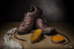 Cleaning Me Boots (Explored) (Simon Caplan) Tags: boots shoes leather stilllife lightsculpting renaissancestylelighting