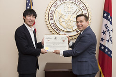 2-21-18 Arkansas Traveler Certificate to Koya Suzuki Giuseppe Percivati (Arkansas Secretary of State) Tags: 22118 arkansa straveler certificate koya suzuki giuseppe percivati hot springs sister city