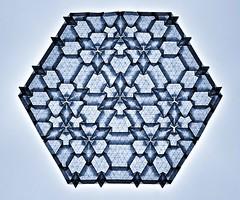 Tessellation Btt-4 (Marjan Smeijsters) (De Rode Olifant) Tags: marjansmeijsters origami paper paperfolding btt4 tessellation btt3 connection6 hexagon pattern triangle backlit butterflymolecule butterfly