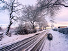 Winter at Ballochney Road (w.mekwi photography [here & there]) Tags: plains trees winter airdrie landscape lanarkshire roadsign uk scotland plants puddle fence sunrise road ballochneyroad snow