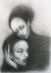 Dans les bras du spleen (Adrien Gomet) Tags: graphite pencil drawing melancholy mélancolie melancholic symbolisme symbolism symbolic spleen sadness art dessin woman portrait crayon