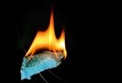 Burning Sponge (simondownunder) Tags: flame 70d sigma105 macromonday macromondayflame strobist yn560 fire buring sponge macro