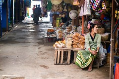 Sales woman at the market (*Kicki*) Tags: seeds spices woman market inlelake burma myanmar food goods people person female shop hats street candid inle inlay inlaylake shanstate tharlay tarlay