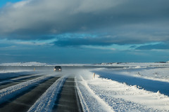 Driving in Iceland can be challenging (Winniepix) Tags: 2018 iceland travel winniepix drive driving motor motoring car snow ice wind drift perspective blue headlight cloud water bend