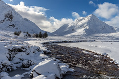 A perfect winter scene (sarahOphoto) Tags: glencoe glen coe cottage snow fresh water river coupall white blue sky clouds mountains trees scotland highlands scottish uk united kingdom landscape nature canon 6d mountain covered capped winter scene