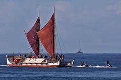 Hokule'a (RicoLeffanta) Tags: hokulea cat catamaran polynesian hawaiian voyaging canoe ocean pacific ship boat sail sailing mast culture native jetski 2018 makaha oahu hawaii rico leffanta