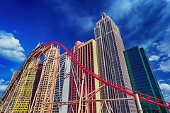 New York-New York Hotel and Casino (Ian Sane) Tags: ian sane images newyorknewyorkhotelandcasino paradise nevada las vegas strip boulevard therollercoaster blue sky clouds sunlight perspective canon eos 5ds r camera ef1740mm f4l usm lens windowwednesday