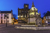 Linlithgow Cross and Town House by Night (Dougie Milne Photography) Tags: linlithgow cross townhouse night dark illuminated streetlights well carving architecture stone westlothian scotland scottish bluehour dusk twilight 50thingswestlothian building sky road old tower tourism europe travel landmark city historic town famous house medieval history european gothic blue beautiful clock townclock evening townsquare kirkgate whiteunicorn blackbitch heraldic ornate intricate longexposure linlithgowpalace highstreet