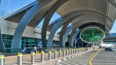Dubai, United Arab Emirates: Curbside Terminal 3 at Dubai International Airport (nabobswims) Tags: ae airport dubai hdr highdynamicrange ilce6000 lightroom nabob nabobswims photomatix sel18105g sonya6000 terminal3 uae unitedarabemirates