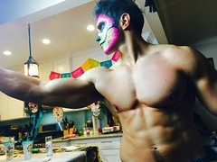 IMG_9925 (danimaniacs) Tags: shirtless hunk man guy mansolo chicosangels dukeshoman diadelosmuertos dayofthedead torso muscles pecs makeup