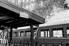 Gare du Montenvers (rossendgricasas) Tags: chamonixmontblanc montblanc chamonix france snow train bn bw monochrome noperson photography photoshop lightroom light mac nikon travel glacier