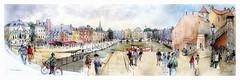 Honfleur - Normandie - France (guymoll) Tags: googleearthstreetview derwent croquis sketch aqiaremme watercolour watercolor honfleur normandie port harbour bateaux ships
