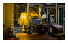 The Times They Are A-Changin' (ShootsEatsandLives) Tags: old antique vintage shop sonya6000 golden lp player lamps musical window zeiss beautiful table