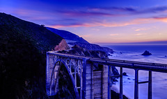Bixby Blue Hour (Hameed S) Tags: bigsur sunset longexposure california architecture seascape monterey travel tourism tourist historic roadtrip dark sea nightphotography usa twilight sky beach