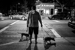 Astoria (TS_1000) Tags: newyork astoria queens ditmarsblvd leica q summilux 28mm nightshot bank mann hund mannmithund bnw sw blackandwhitephotography