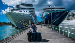 2017 - Regent Cruise - Antigua - St. John's Nevis Street Pier (Ted's photos - For Me & You) Tags: 2017 antigua cropped nikon nikond750 nikonfx regentcruise stjohn'santigua tedmcgrath tedsphotos vignetting luggage suitcases sevenseasexplorer ship ships cruiseship railings pier nevisstreetpier stjohnsnevisstreetpier dock ropes shipsprow shipsbow shadow shadows people peopleandpaths pullmantur pullmanturzenith boat boats