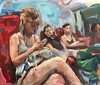 Train texting girl (Captain Wakefield) Tags: lady oil acrylic expressionist traveling passenger reading texting train girl woman interior figurative impressionist burton samuel art painting people sit sitting seated