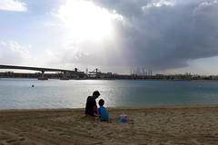 Rainy day in Dubai (domit) Tags: dubai uae rainy day thepalm atlantis beach isaac jay skyline sun rays