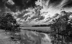 Ominous Clouds from Approaching Thunderstorm (stevebfotos) Tags: storm clouds thunderstorm blackwhite bw monochrome blanco y negro canarycreek greatmarsh wetlands delaware delawarebay